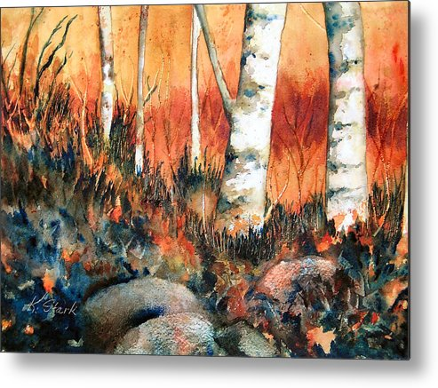 Landscape Metal Print featuring the painting Autumn by Karen Stark