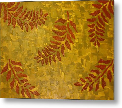 Acrylic Paints Metal Print featuring the painting Autumn Leaves by Modern Palette Art