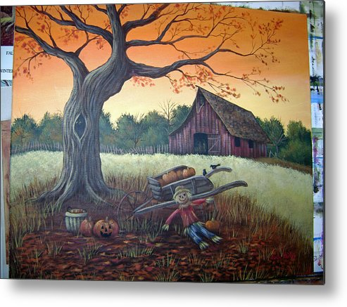 Landscape Metal Print featuring the painting Autumn Memories by Judy Keefer