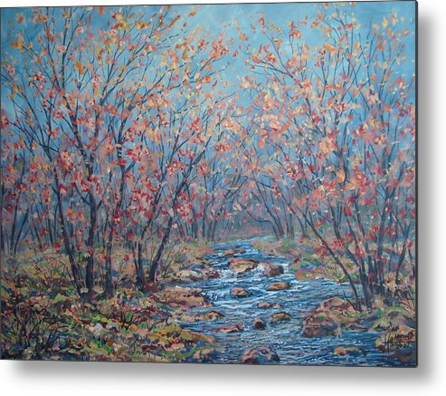 Landscape Metal Print featuring the painting Autumn Serenity by Leonard Holland