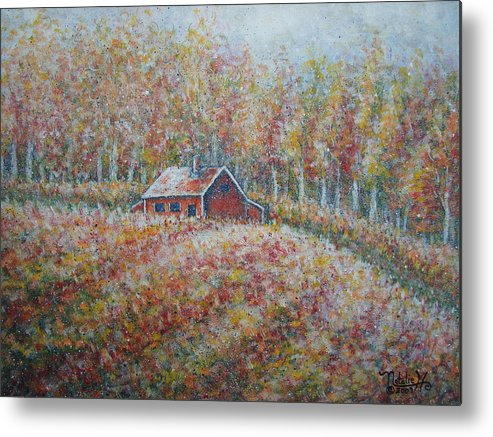 Landscape Metal Print featuring the painting Autumn Whisper. by Natalie Holland