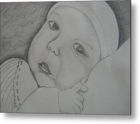 Baby Metal Print featuring the drawing Baby Girl Horizontal by Theodora Dimitrijevic