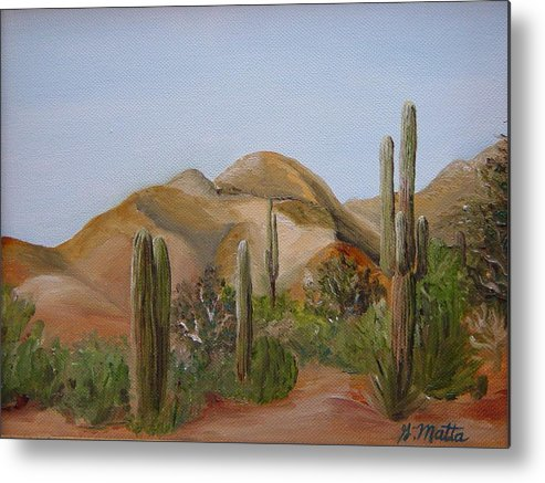 Landscape Metal Print featuring the painting Backdoor View by Gretchen Matta