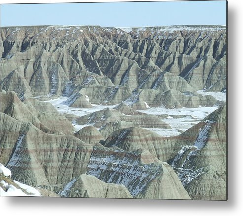 Landscape Metal Print featuring the photograph Badlands Under Snow by Dennis Wilkins