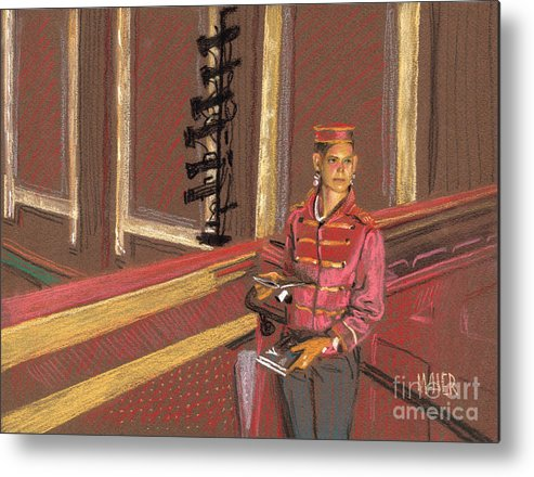 Movie Theather Metal Print featuring the drawing Balcony Usher by Donald Maier