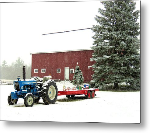 Barn Metal Print featuring the photograph Barn And Tractor Holiday Scene by Janice Drew