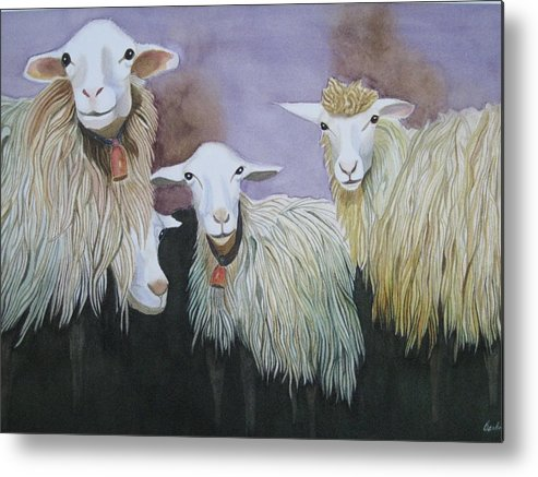 Sheep Just Hanging Around Metal Print featuring the painting Barnyard Series by Barbara Pascal