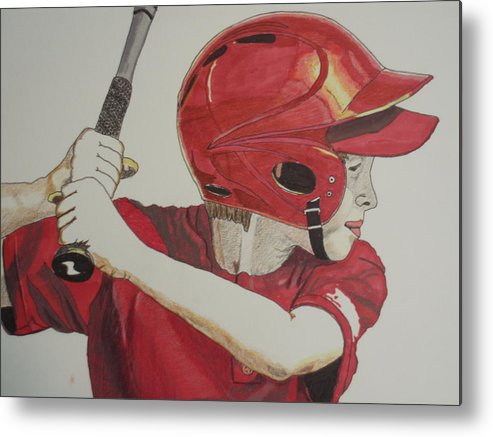 Baseball Metal Print featuring the drawing Baseball Ready 2 by Michael Runner