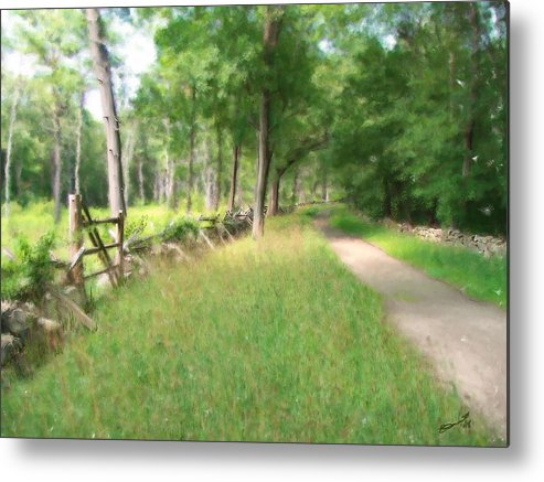 Concord American Revolution Bloody Angle British Colonists 1775 Stone Walls Rural New England Metal Print featuring the painting Battle Trail by Eddie Durrett