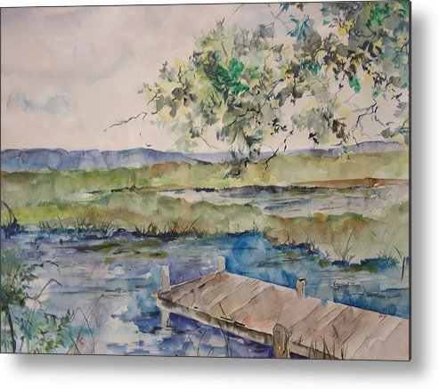 Landscape Metal Print featuring the painting Bayou At Carr Drive by Robin Miller-Bookhout
