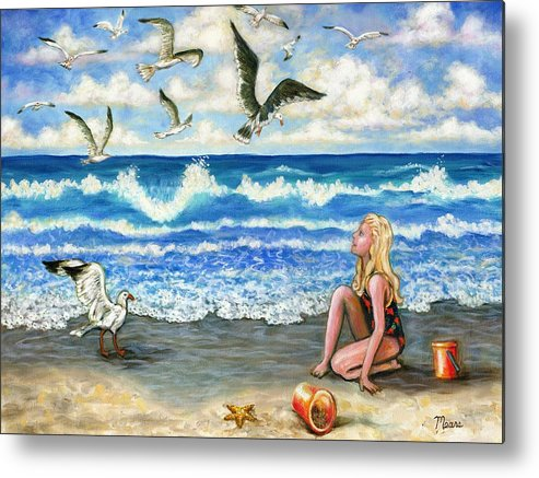 Beach Metal Print featuring the painting Beach Bliss by Linda Mears