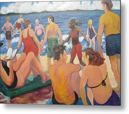 People Metal Print featuring the painting Beach Day by Rufus Norman