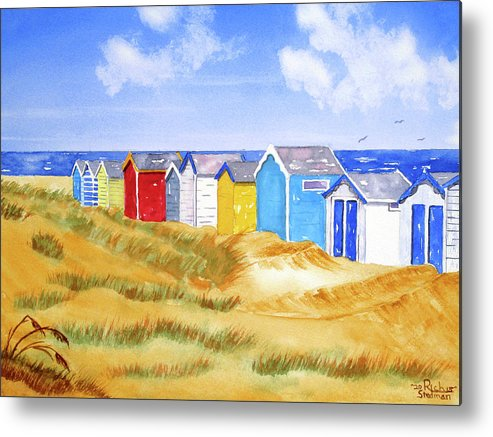 Beach Metal Print featuring the painting Beach Huts by Rich Stedman