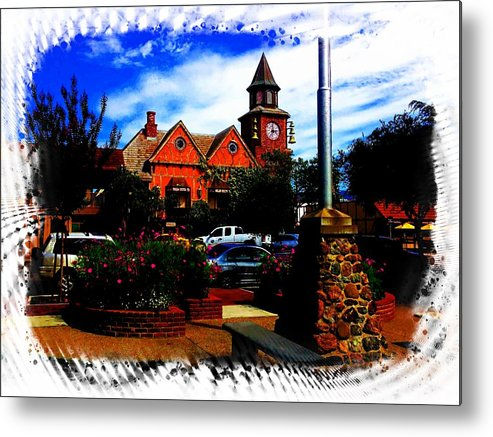 Beautiful Metal Print featuring the painting Beautiful Downtown Solvang by Don Barrett