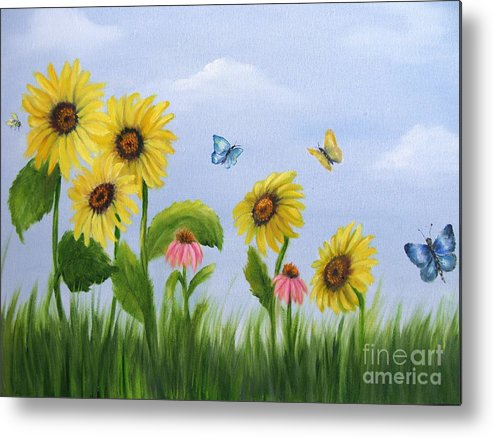 Garden Metal Print featuring the painting Bee Friends by Carol Sweetwood