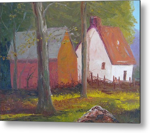 Oil Painting Metal Print featuring the painting Beekeeper's Cottage by Belinda Consten