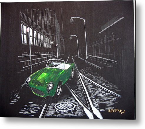 Berkley Metal Print featuring the painting Berkley Sports Car by Richard Le Page