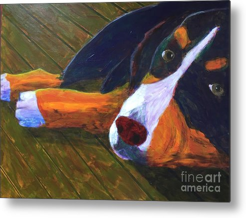 Bernese Mountain Dog Metal Print featuring the painting Bernese Mtn Dog On The Deck by Donald J Ryker III