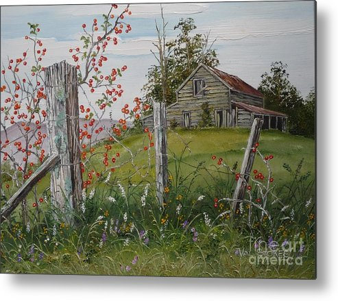 Barn Metal Print featuring the painting Berry Barn by Val Stokes