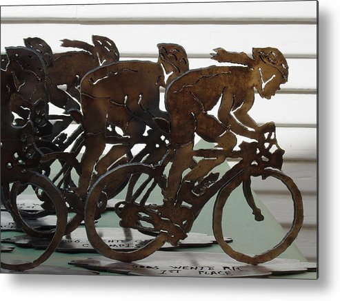 Steel Metal Print featuring the sculpture Bicycle Trophies by Steve Mudge