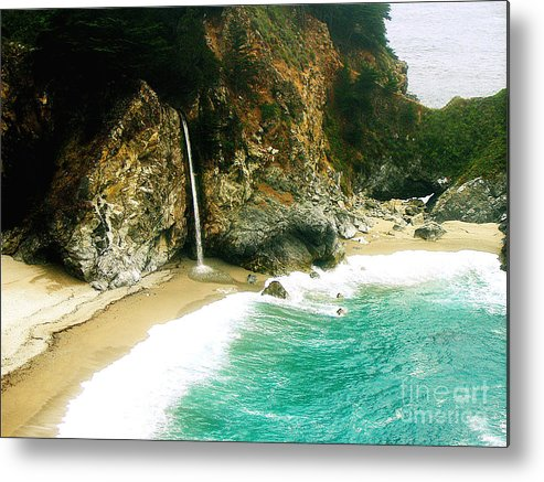 Big Sur Metal Print featuring the photograph Big Sur Waterfall by Jerome Stumphauzer