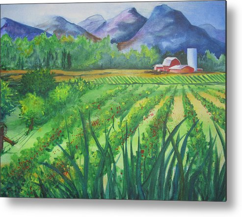 Landscape Metal Print featuring the painting Big Valley Farm by Karen Stark
