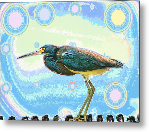 Bird Metal Print featuring the digital art Bird Contemplates The Cosmos by Wendy J St Christopher