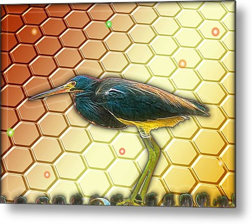 Bird Metal Print featuring the digital art Bird Ponders The Disappearing Bees And Several Biological Markers Left In The Hive by Wendy J St Christopher