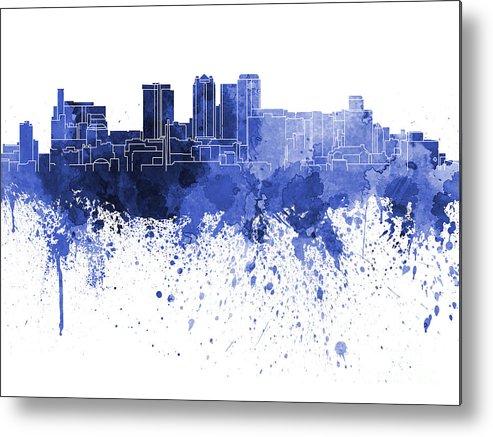 Birmingham Skyline Metal Print featuring the painting Birmingham Al Skyline In Blue Watercolor On White Background by Pablo Romero