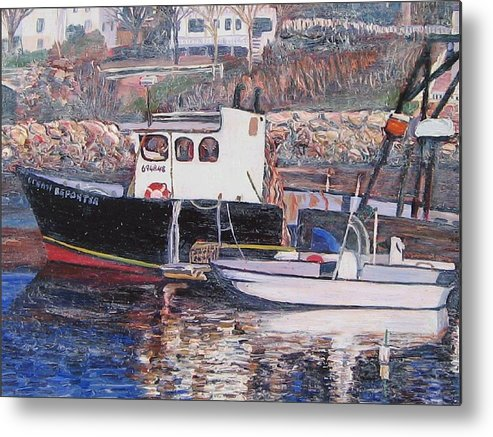 Boat Metal Print featuring the painting Black Boat Reflections by Richard Nowak