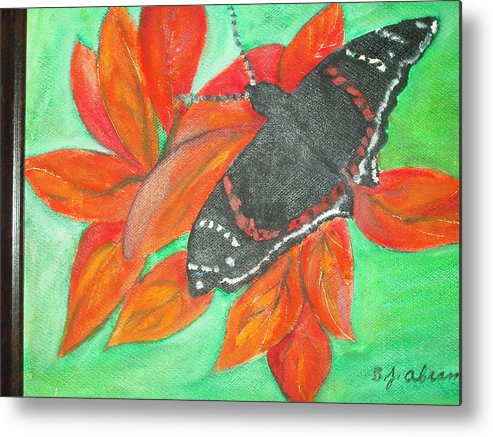Abstract Metal Print featuring the painting Black Butterfly by Betty Abrams