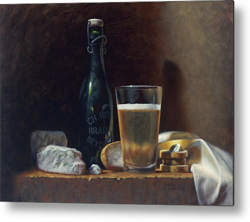 Oil Metal Print featuring the painting Bleu Cheese And Beer by Timothy Jones