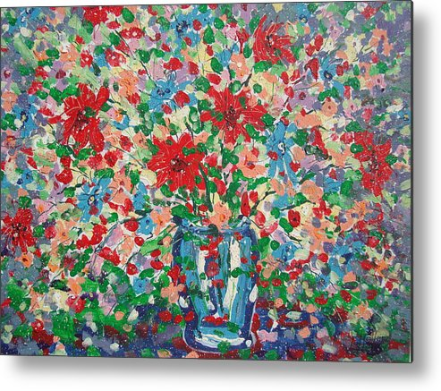 Painting Metal Print featuring the painting Blue And Red Flowers. by Leonard Holland