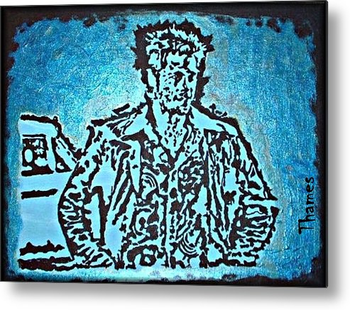 brad Pitt Metal Print featuring the painting Blue Brad by Christopher Thames