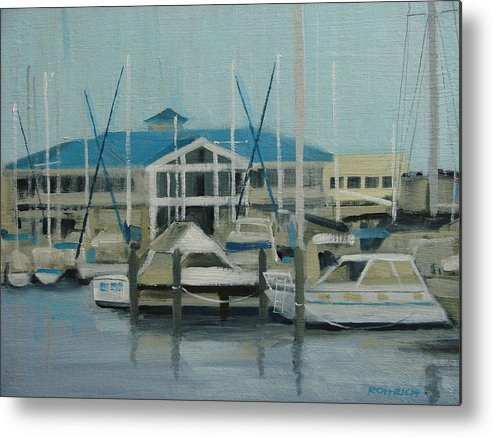 Boats Yachts Metal Print featuring the painting Blue Marina by Robert Rohrich