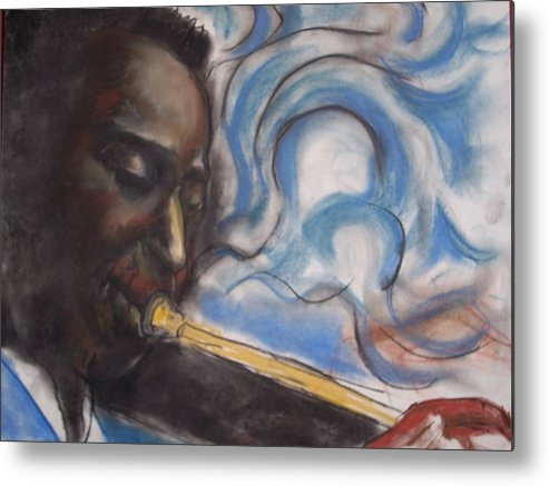 Miles Davis Metal Print featuring the print Blue Miles by Darryl Hines