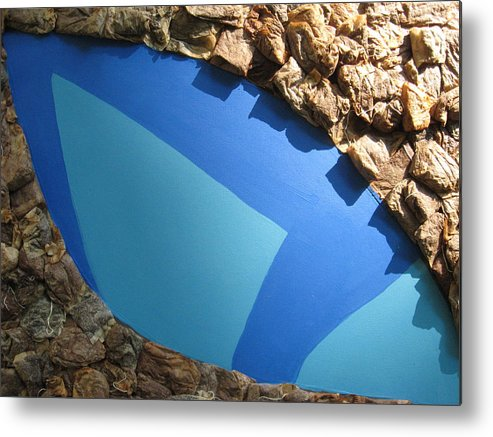 Pond Metal Print featuring the mixed media Blue Pond by Gail Hinchen