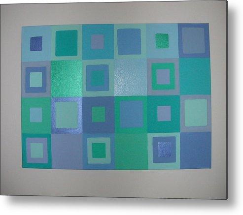 Pastel Blue Metallic Squares Painting Metal Print featuring the painting Blue Skies by Gay Dallek