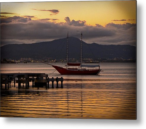 Boat Metal Print featuring the photograph Boat And The Sunset by Andre Panatto