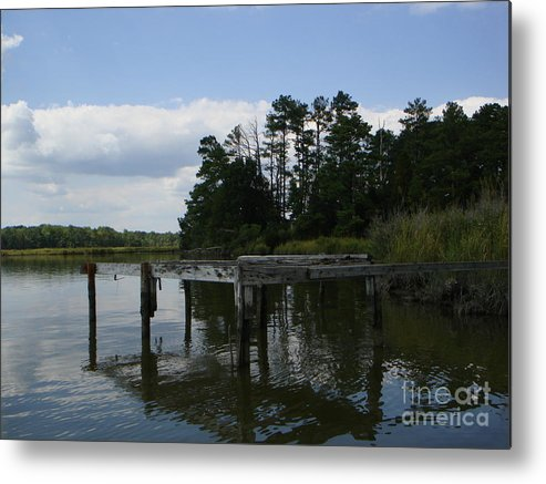 Boat Doc Metal Print featuring the photograph Boat Dock On The Bay by PJ Cloud
