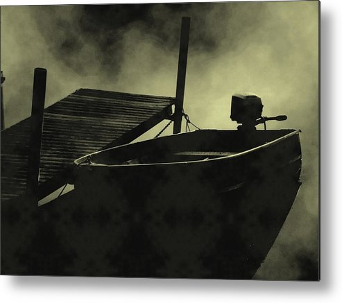 Landscape Metal Print featuring the photograph Boat In Fog by Michael L Kimble