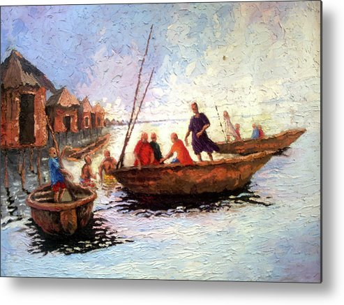 Waterside Metal Print featuring the painting Boat Peaple by Etim Ekpenyong