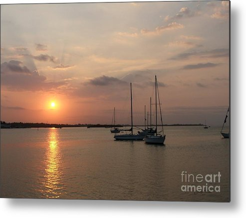 Sunrise Metal Print featuring the photograph Boats At Sunrise by Judy Waller