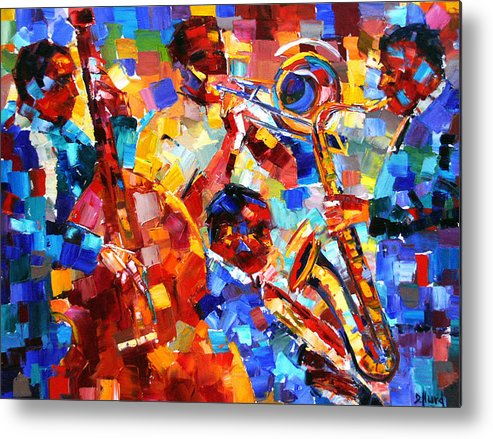 Jazz Metal Print featuring the painting Bold Jazz Quartet by Debra Hurd