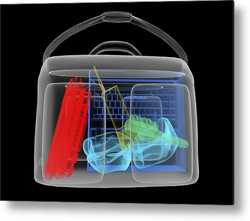 Explosives Metal Print featuring the photograph Bomb Inside Briefcase, Simulated X-ray by Christian Darkin