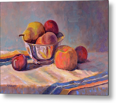 Still Metal Print featuring the painting Bowl With Fruit by Keith Burgess