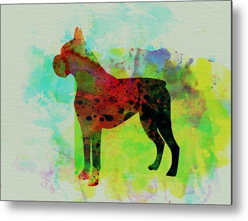Boxer Metal Print featuring the painting Boxer Watercolor by Naxart Studio