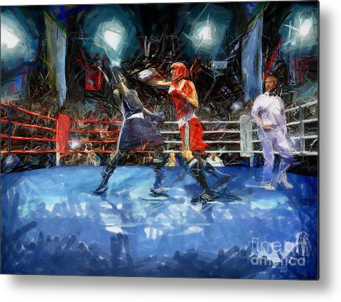 Boxing Metal Print featuring the painting Boxing Night by Murphy Elliott