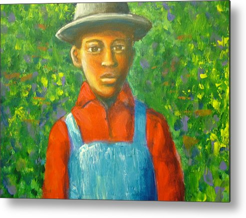 Painting Metal Print featuring the painting 'boy In The Woods' by Jan Gilmore