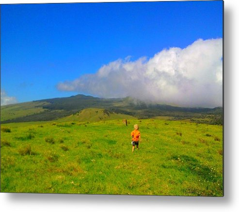 Hawaii Metal Print featuring the photograph Boy On The Hill by Charles Jennison
